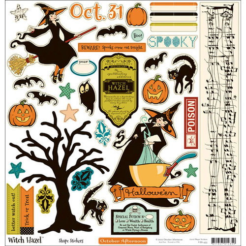October Afternoon - Witch Hazel Collection - Halloween - 12 x 12 Cardstock Stickers - Shapes