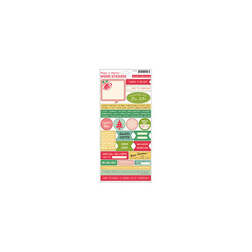 October Afternoon - Make it Merry Collection - Christmas - Cardstock Stickers - Words