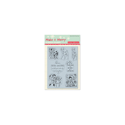 October Afternoon - Make it Merry Collection - Christmas - Cling Mounted Rubber Stamps - Greeting Cards