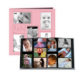 Pioneer - 12 x 12 Album - 240 4 x 6 Inch Photo Pockets - Embossed Sewn Leatherette Collage Frame - Baby - Pink