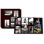 Pioneer - 12 x 12 Album - 240 4x6 Inch Photo Pockets - Embossed Sewn Leatherette Collage Frame - Travel - Brown