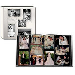 Pioneer - 12 x 12 Album - 240 4x6 Inch Photo Pockets - Embossed Sewn Leatherette Collage Frame - Wedding - White