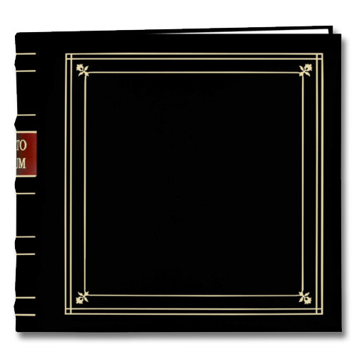 Pioneer - 2-Up Bonded Leather Album 3 Ring - 200 Pockets - Black