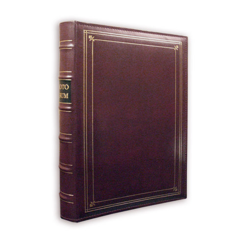 Pioneer - 3-Up Bonded Leather Album 3 Ring - 204 Pockets - Burgundy