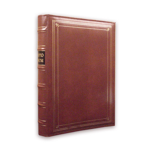 Pioneer - 3-Up Bonded Leather Album 3 Ring - 204 Pockets - Brown