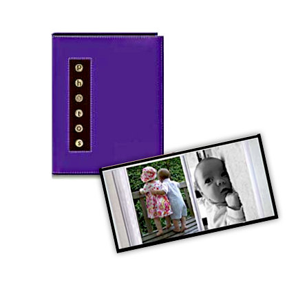 Pioneer - 36 4x6 Inch Photo Pockets - Brag Metal Button Glossy Album - Purple
