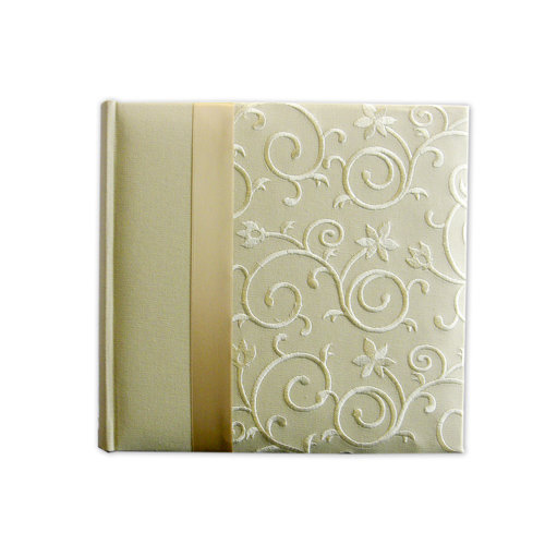 Pioneer - 2 Up Album - 200 4x6 Inch Photo Pockets - Embroidered Scroll Fabric Ribbon - Ivory