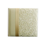 Pioneer - 2 Up Album - 200 4 x 6 Inch Photo Pockets - Embroidered Scroll Fabric Ribbon - Ivory