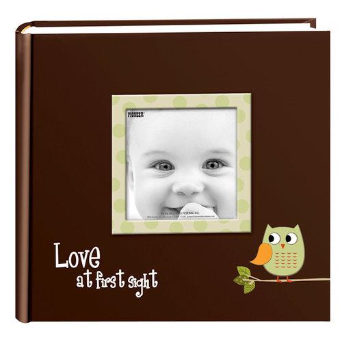 Pioneer - 2 Up Album - 200 4x6 Inch Photo Pockets - Printed Designer Frame Album - Baby Owl - Green