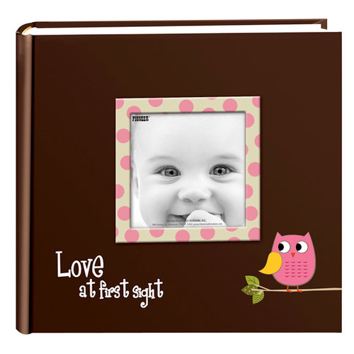 Pioneer - 2 Up Album - 200 4x6 Inch Photo Pockets - Printed Designer Frame Album - Baby Owl - Pink