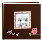 Pioneer - 2 Up Album - 200 4x6 Inch Photo Pockets - Printed Designer Frame Album - Baby Owl - Pink