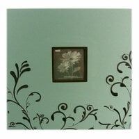 Pioneer - EZ Load Memory Album - 12 x 12 - 20 Top Loading Pages - Embroidered Fabric Scroll Frame - Aqua and Brown