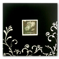 Pioneer - EZ Load Memory Album - 12 x 12 - 20 Top Loading Pages - Embroidered Fabric Scroll Frame - Black and White