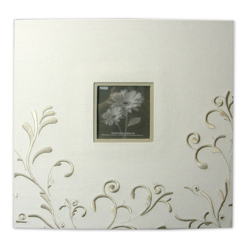 Pioneer - EZ Load Memory Album - 12 x 12 - 20 Top Loading Pages - Embroidered Fabric Scroll Frame - Ivory