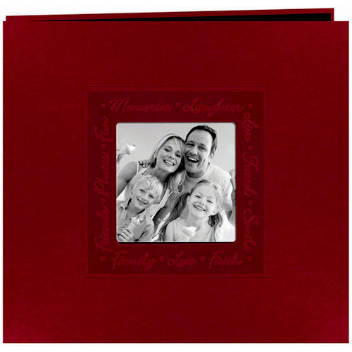 Pioneer - EZ Load Memory Album - 12 x 12 - 20 Top Loading Pages - Embossed Leatherette Script Frame - Red