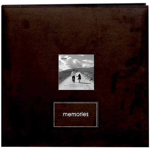 Pioneer - EZ Load Memory Album - 12 x 12 - 20 Top Loading Pages - Faux Suede - Memories Embroidered Patch - Dark Brown