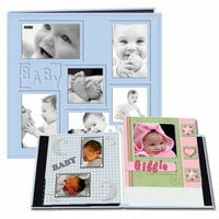 Pioneer - EZ Load Memory Album - 12 x 12 - 20 Top Loading Pages - Embossed Sewn Leatherette Collage Frame - Baby - Blue