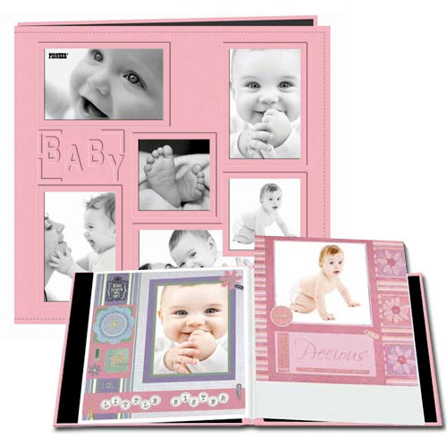 Pioneer - EZ Load Memory Album - 12 x 12 - 20 Top Loading Pages - Embossed Sewn Leatherette Collage Frame - Baby - Pink