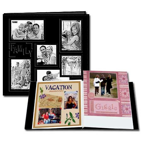 Pioneer - EZ Load Memory Album - 12 x 12 - 20 Top Loading Pages - Embossed Sewn Leatherette Collage Frame - Family - Black