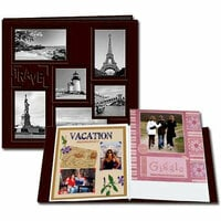 Pioneer - EZ Load Memory Album - 12 x 12 - 20 Top Loading Pages - Embossed Sewn Leatherette Collage Frame - Travel - Brown
