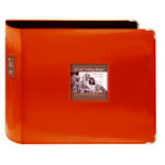 Pioneer - D-Ring Binder - 12 x 12 Sewn Leatherette Cover with Metal Corners - Bright Orange