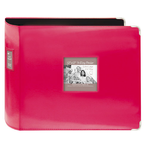 Pioneer - D-Ring Binder - 12 x 12 Sewn Leatherette Cover with Metal Corners - Bright Pink