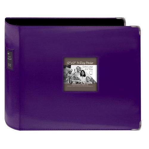 Pioneer - D-Ring Binder - 12 x 12 Sewn Leatherette Cover with Metal Corners - Dark Purple
