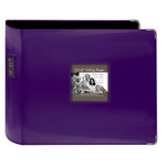 Pioneer - D-Ring Binder - 12 x 12 Sewn Leatherette Cover with Metal Corners - Dark Purple