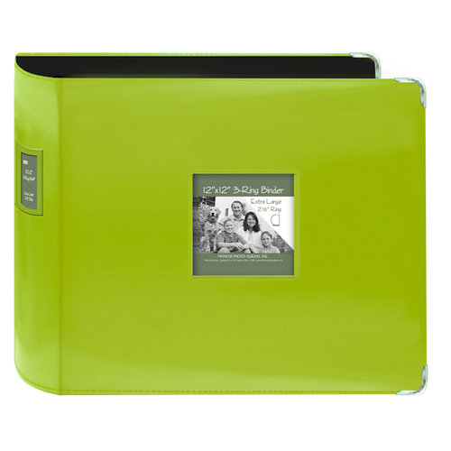Pioneer - D-Ring Binder - 12 x 12 Sewn Leatherette Cover with Metal Corners - Lime Green