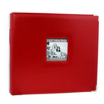 Pioneer - D-Ring Binder - 12 x 12 Sewn Leatherette Cover with Metal Corners - Red