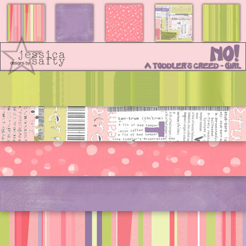 E-Kit Papers (Digital Scrapbooking) - No! A Toddlers Creed: Girl