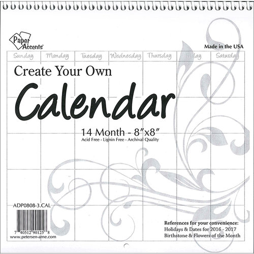 Paper Accents - Create Your Own Calendar - 8 x 8 - 14 Month - Blank - White