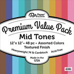 Paper Accents - 12 x 12 Cardstock Pack - Textured - Mid Tones