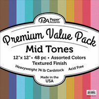 Paper Accents - 12 x 12 Cardstock Pack - Textured - Mid Tones - 48 Pieces