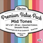Paper Accents - 12 x 12 Cardstock Pack - Smooth - Mid Tones