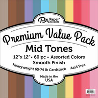 Paper Accents - 12 x 12 Cardstock Pack - Smooth - Mid Tones - 60 Pieces