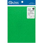 Paper Accents - Cards and Envelopes with Glitter Accents - 4.2 x 5.5 - Green