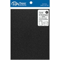 Paper Accents - Cards and Envelopes with Glitter Accents - 4.2 x 5.5 - Black