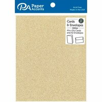 Paper Accents - Cards and Envelopes with Glitter Accents - 4.2 x 5.5 - Light Gold