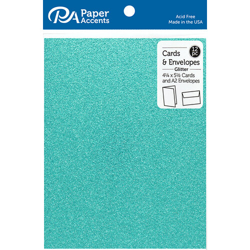 Paper Accents - Cards and Envelopes with Glitter Accents - 4.2 x 5.5 - Prussian Blue