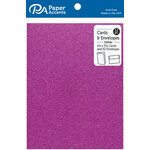 Paper Accents - Cards and Envelopes with Glitter Accents - 4.2 x 5.5 - Purple