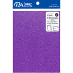 Paper Accents - Cards and Envelopes with Glitter Accents - 4.2 x 5.5 - Grape Jam