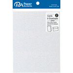 Paper Accents - Cards and Envelopes with Glitter Accents - 4.2 x 5.5 - Iridescent White