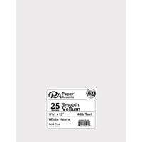 Paper Accents - Smooth Vellum - 8.5 x 11 - White - 48lb - 25 Pack