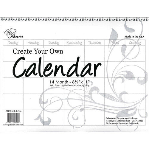 Paper Accents - Create Your Own Calendar - 8 5 x 11 - 14 Month - Landscape  - Blank - White