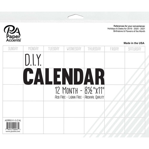 Paper Accents - Create Your Own Calendar - 8.5 x 11 - 12 Month - Blank - White