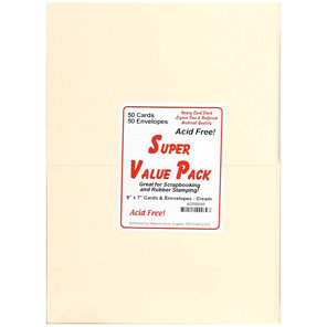 Paper Accents - Super Value Card and Envelope Pack - 5 x 7 - Cream