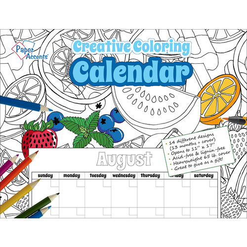 Paper Accents - Creative Coloring Collection - Monthly Calendar - 8.5 x 11 - Undated