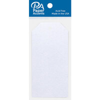 Paper Accents - Craft Tags - Iridescent Glitter - White - 10 Pack