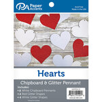 Paper Accents - Chipboard and Glitter Pennant - Hearts